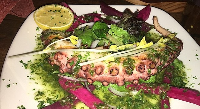 The octopus is chargrilled and served with a salad with a lemony dressing.