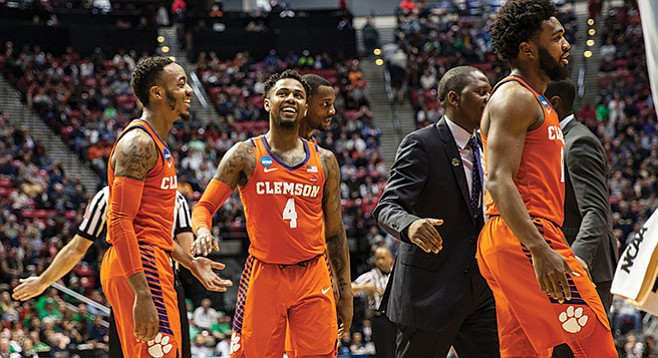 Clemson, from South Carolina, was one of seven east-of-the-Rockies schools to play in March Madness games in San Diego. New Mexico State was the only Western team to play here.