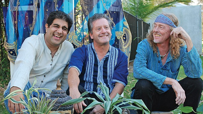 Bahman Sarram, Dan Ochipinti, and Reverend Stickman groove collectively as the Mystic Groove Collective