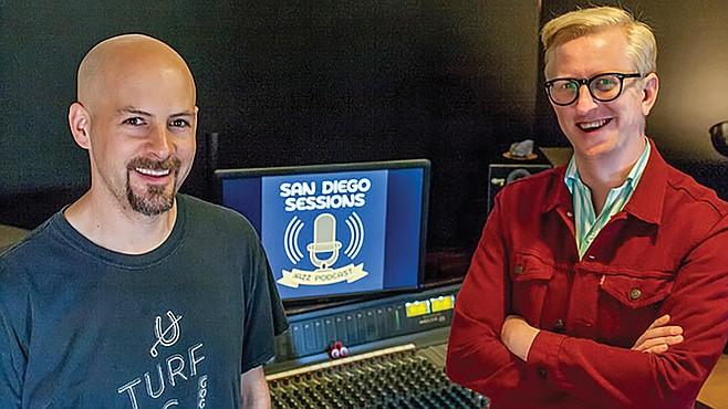 """Jazz podcast hosts Ian Tordella (left) and Ed Kornhauser. """"Together we're like one super host."""""""