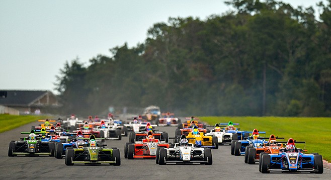 Start of round 12 of this year's F4 series, at the New Jersey Motor Sports Park in September. Dickerson's in the white No. 9 car near the front