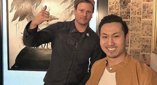 Quan Nguyen with his hero Tom DeLonge.