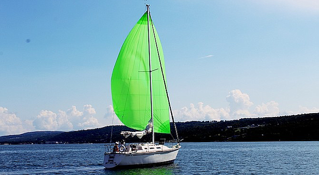 Sailboat on Seneca Lake, largest of the glacial Finger Lakes in New York State.
