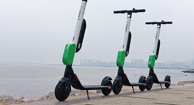 LimeBike scooters