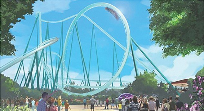 Artist sketch of new roller coaster at SeaWorld San Diego
