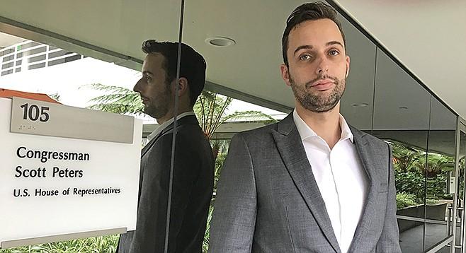 Lucas Cannon, outside Scott Peters' La Jolla office