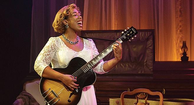 Noël Simoné Wippler performs as Sister Rosetta Tharpe in Marie & Rosetta at Cygnet Theatre.