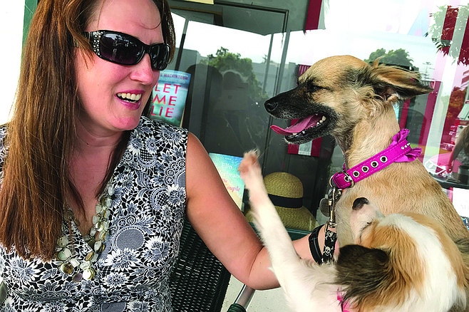 Jamie Sorenson and her rescue dogs