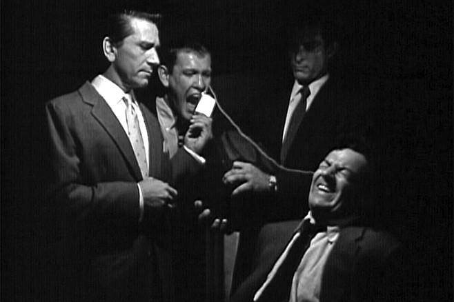 The Big Combo: Richard Conte, Earl Holliman, and Lee Van Cleef drive Cornel Wilde.