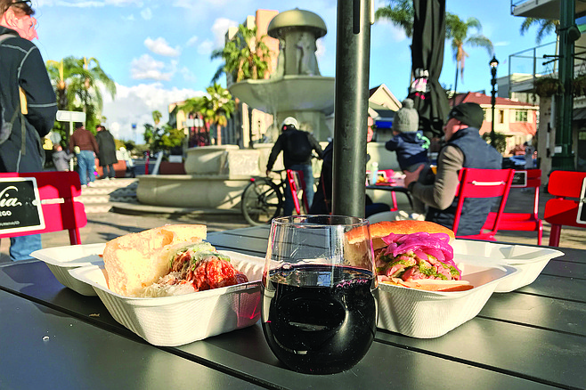 What $15 buys: meatball sandwich, beef sandwich, glass of wine. Oh, and the view