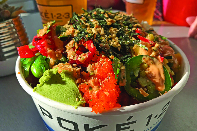 My $11.99 Poke bowl, with spicy tuna and salmon. And wasabi and fish eggs