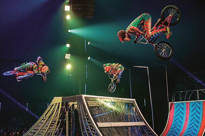 Freestyle BMX riders perform during Cirque du Soleil's Volta.