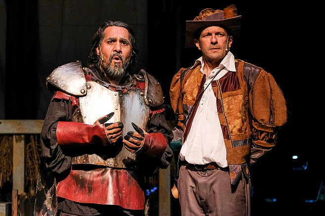 Rudy Martinez as Don Quixote, and Steve Lawrence as Sancho Panza, in the Oceanside Theatre Company production of Man of La Mancha.