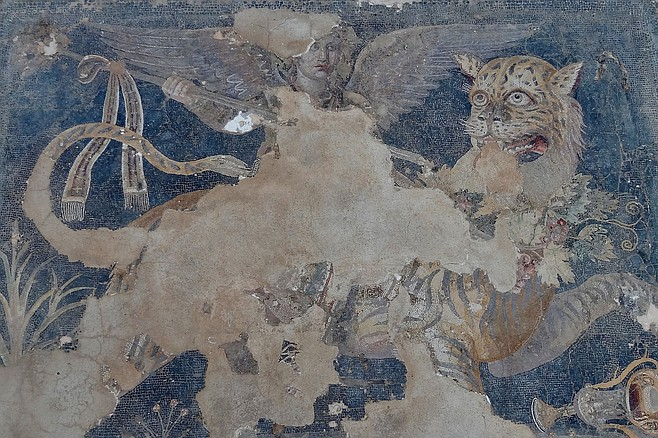"""Dionysus as a winged deity riding a tiger. It doesn't get any more """"baller"""" than that. 2nd Century BC."""