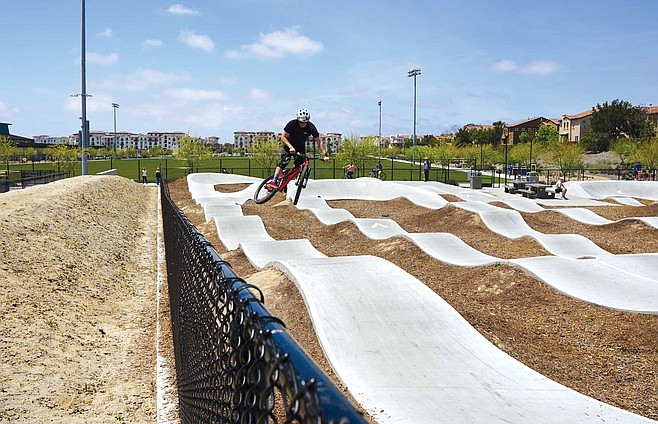 The Pacific Highlands Ranch Pump Track is hoping bikers and skaters can enjoy their new concrete playground in harmony.