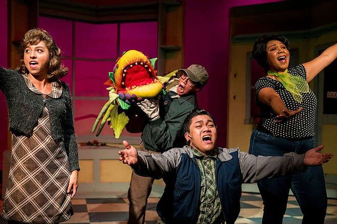 Natasha Baenisch, Sittichai Chaiyahat, Chris Bona, and Patricia Jewel perform in Little Shop of Horrors at New Village Arts.