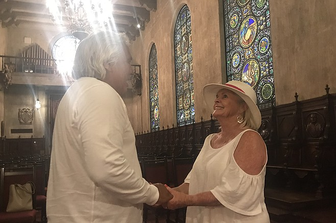 Gene and Jeanette in Riverside's Mission Inn chapel where they were married