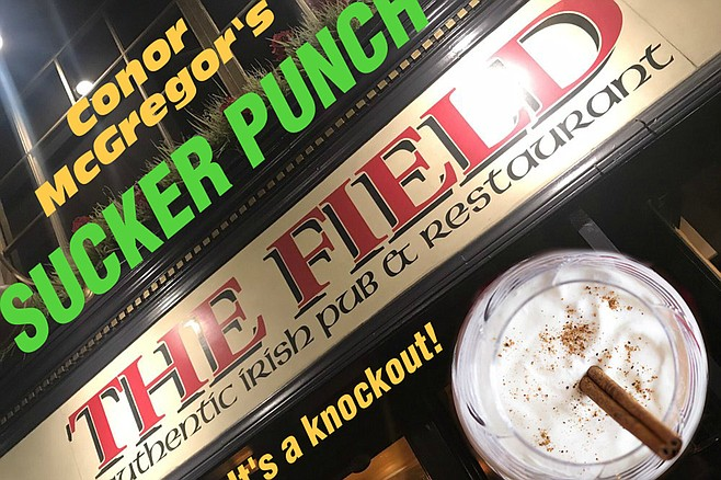 The Field's Sucker Punch: Milk (nonfat, like Conor), whiskey (Irish, also like Conor), POWdered sugar (get it?), and NUTmeg, because it takes serious sack to punch a man just because he doesn't want you to buy him a drink. Also, it's tasty.