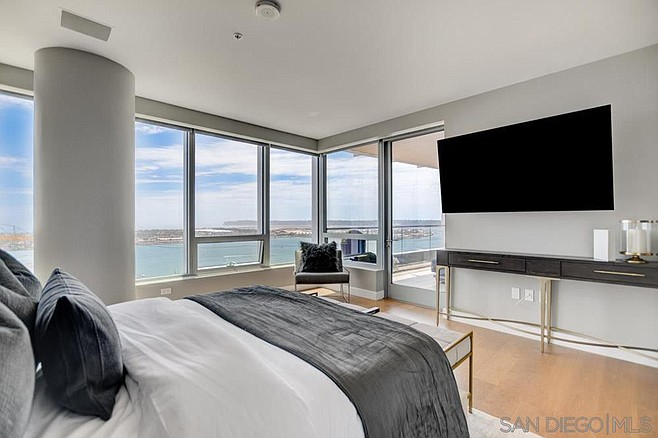 Sixty-inch flat screen, or views of Coronado and Point Loma.