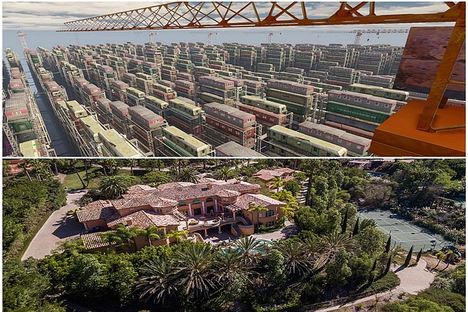 "Above: artist's rendition of ""Stack 'em and pack 'em,"" SANDAG's suggested solution for Imperial Beach's higher-than-anticipated housing allocation. Below: a Rancho Santa Fe estate that would be ""obviously ruined if even one more structure were placed upon it,"" according to feng shui master Regina Taste. ""I know it sounds shocking, but I'm not even sure they could stand to build a guest house for weekend visitors, the poor dears."""