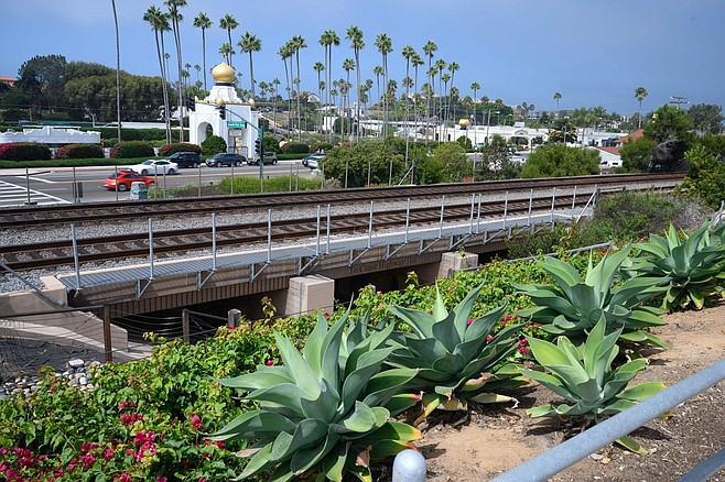 Encinitas to Solana Beach- Note Self-Realization Fellowship dome at Santa Fe Railroad undercrossing at Swami's Beach