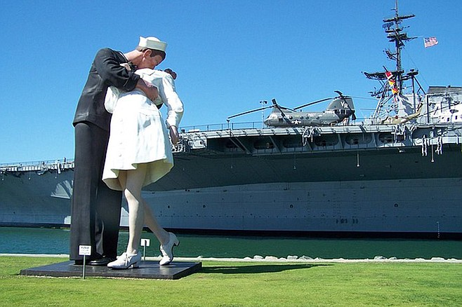 The city's most famous piece of waterfront art is now the kitschy Unconditional Surrender by East Coast artist John Seward Johnson II