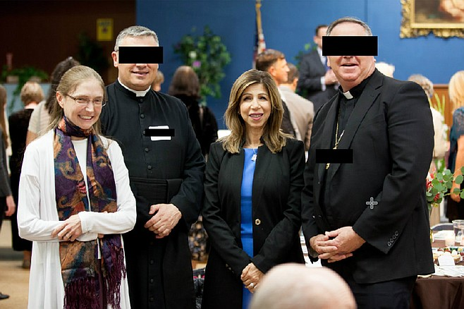 Pictured: Children of the Immaculate Heart founder Grace Williams, San Diego District Attorney Summer Stephan, and two hatemongering anti-LGBTQ Catholic priests whose faces have been obscured to emphasize their utter lack of humanity.