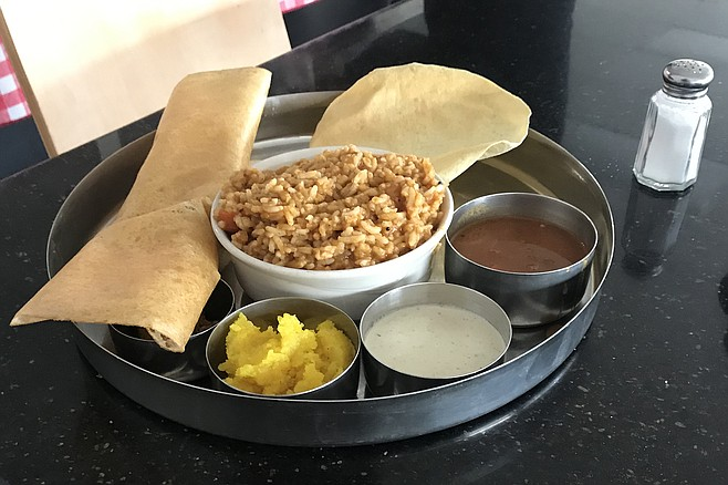 Lunch special. Includes rolled dosa (left), and that's the mini size