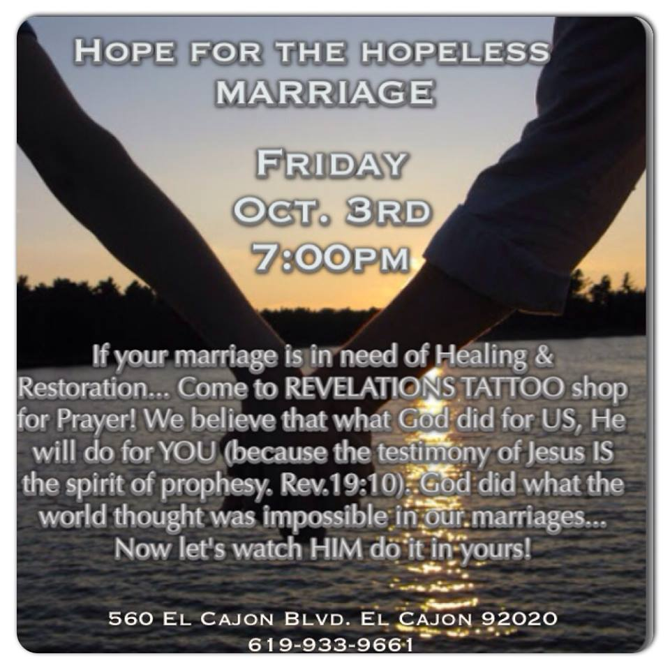 Hope for the hopeless marriage friday october 3 2014 for Tattoo shops in el cajon