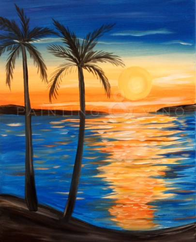 "Island Beach Sunset: Painting & Vino: ""Island Sunset"""