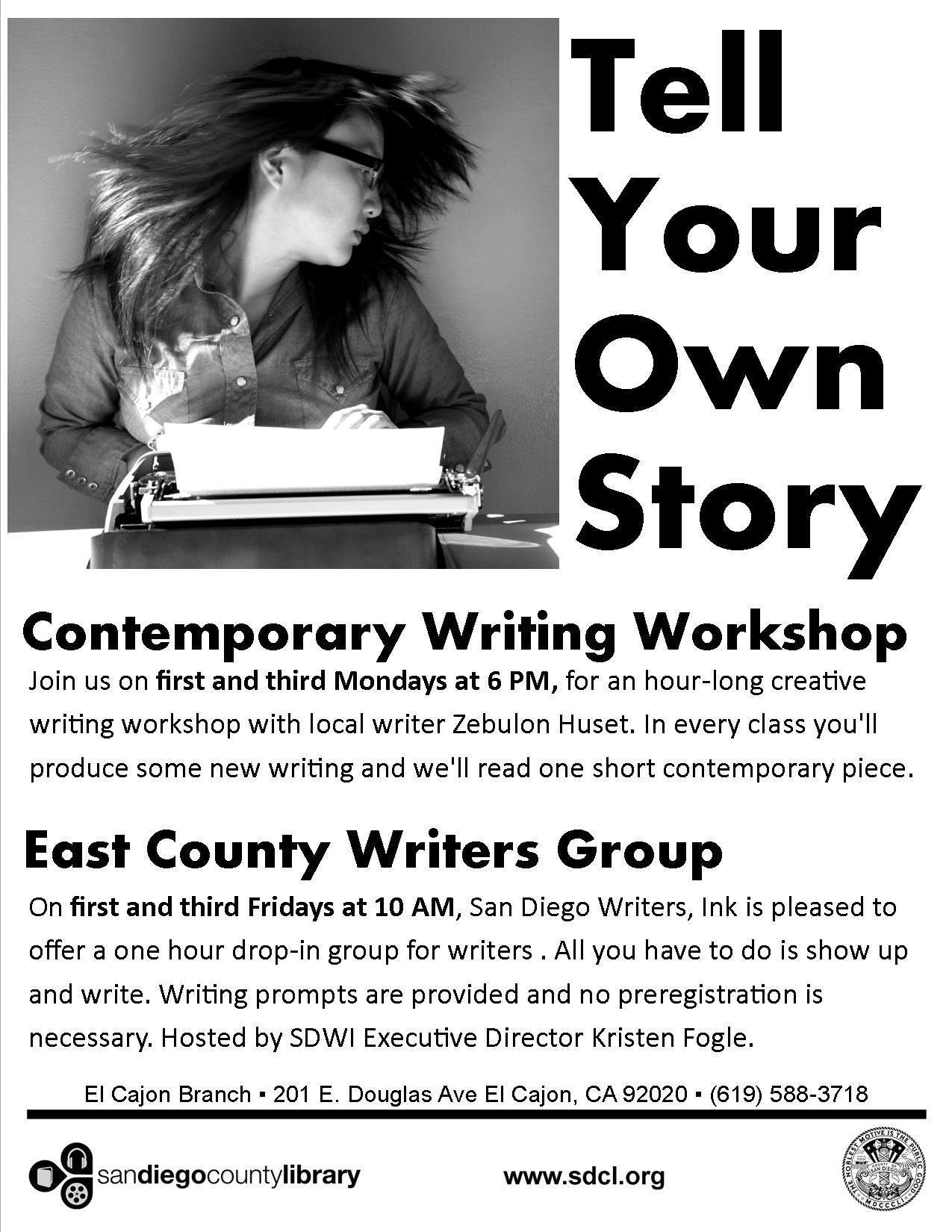 creative writing classes san diego Creative writing bring your story to life with the help of our courses in areas such as fiction, children's writing, non-fiction, stage and screenwriting, poetry and memoir writing.
