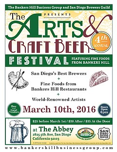Arts craft beer festival thursday march 10 2016 6 p for Craft beer guild san diego