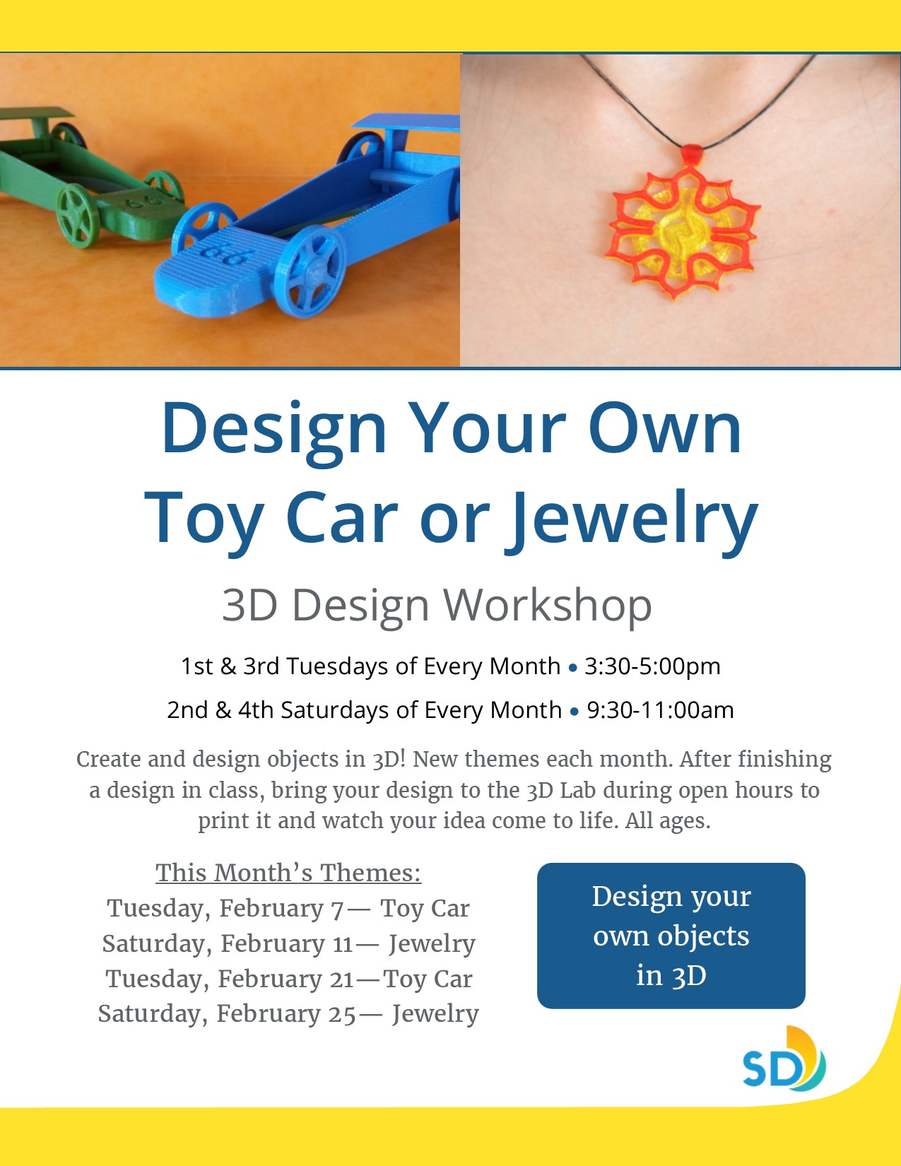 3d design workshop toy car or jewelry saturday for Jewelry making classes san diego