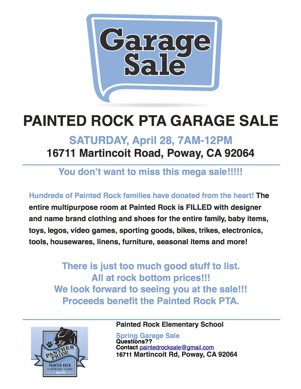Painted Rock Elementary Garage Sale Saturday April 28 2018 7