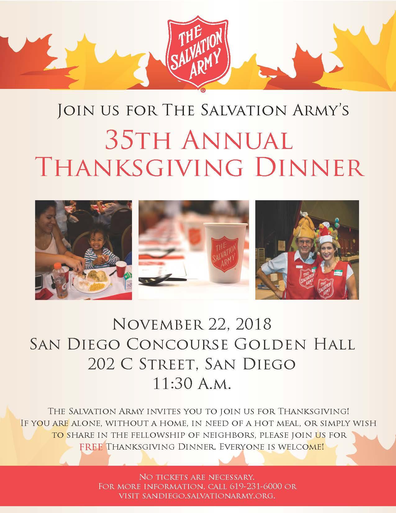 salvation army thanksgiving dinner thursday november 22 2018 11