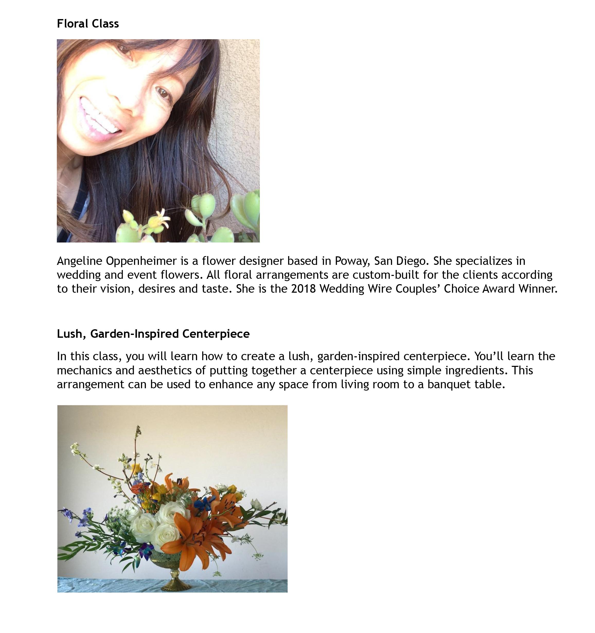 Excellent Floral Design Class San Diego Reader Interior Design Ideas Tzicisoteloinfo