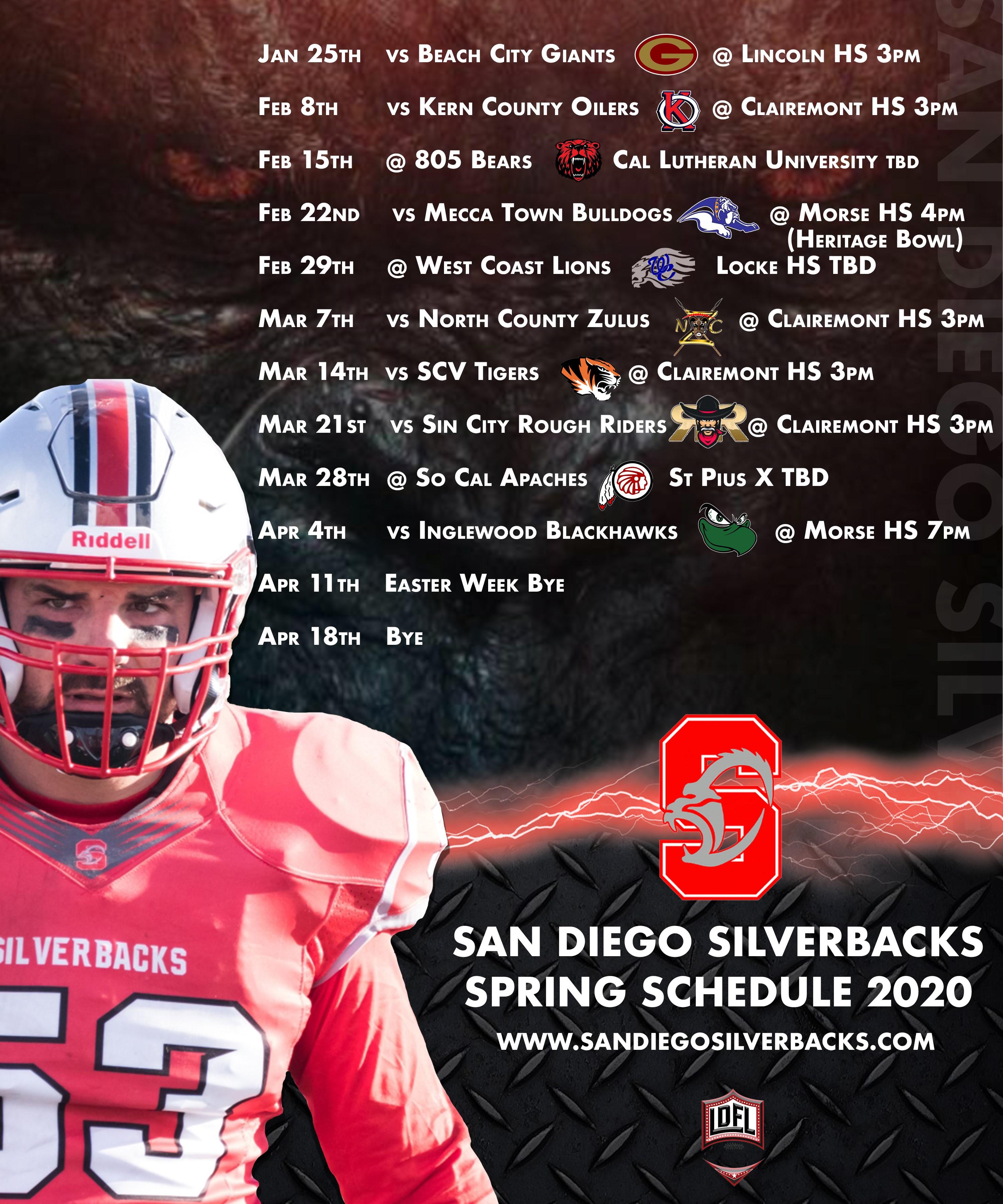 San Diego Silverbacks Football - Saturday, March