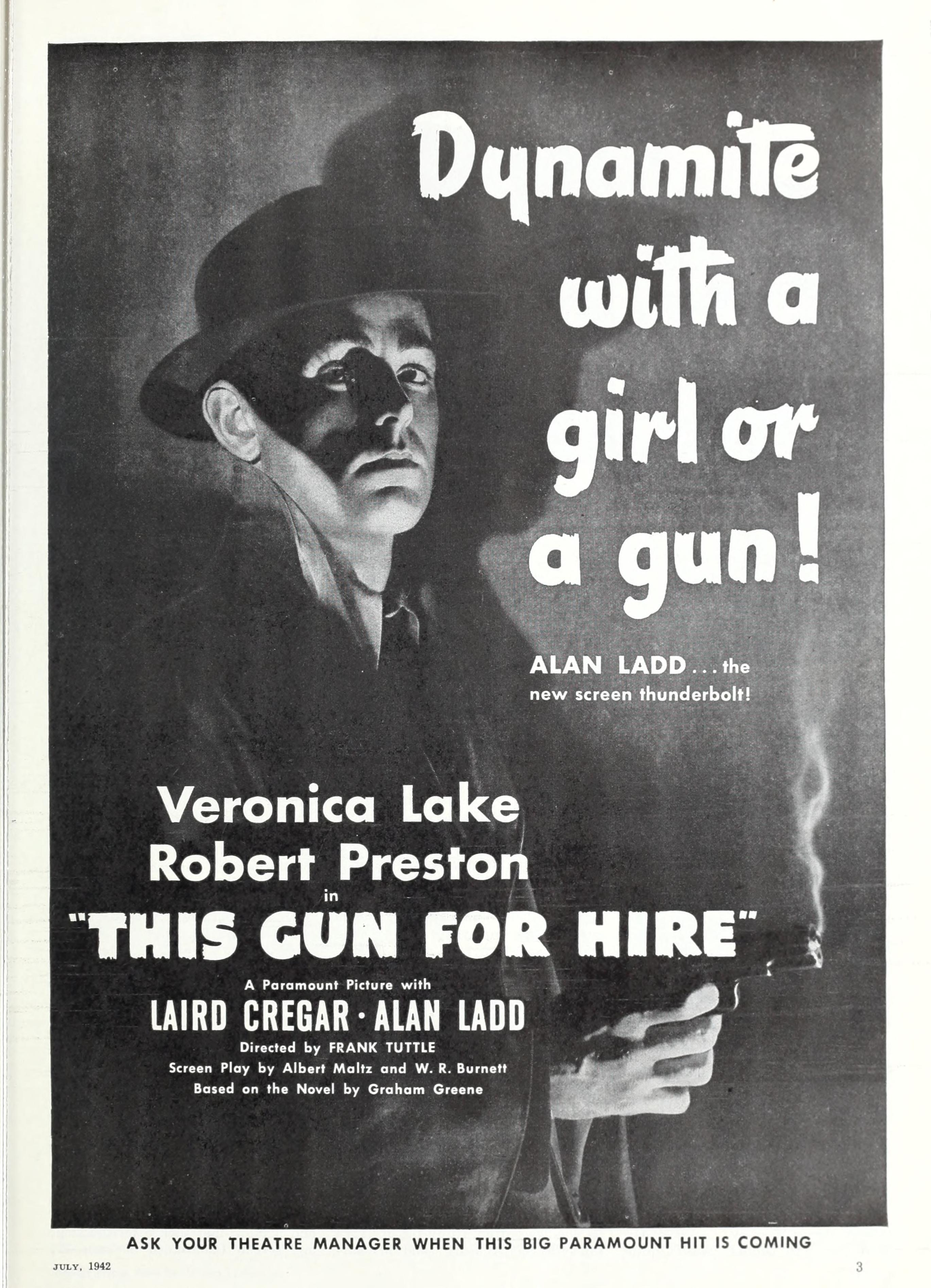 Image result for This Gun for Hire 1942 poster