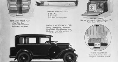 "A late '20s or early '30s Model A Ford. The sketch includes features of the ""Ford Emergency Car"" available or outfitted at Stubbs Motor Company, 1145 India Street. Stubbs became Bay Shore Ford, which became Center City Ford. The dealer moved to Clairemont Mesa Boulevard and became Kearny Mesa Ford.