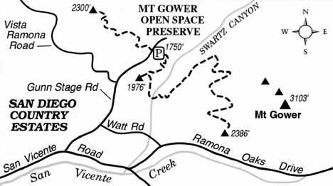 Mount Gower Open Space Preserve, outside Ramona, rises
