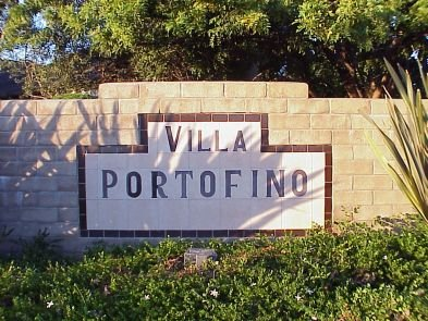 Entrance sign to Villa Portofino, one of the many beautiful neighborhoods in Tierrasanta.