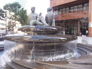 The fountain outside the Wells Fargo building on 5th & B.
