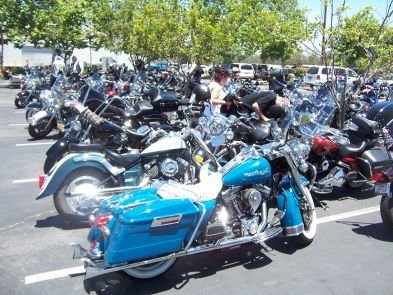 A Harley-Davidson shop in San Marcos gets lots of bikers that meet there for rides.