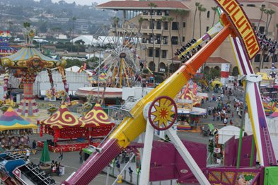 The San Diego County Fair is the largest annual event in San Diego County and the fifth largest fair in the United States, drawing more than 1.2 million visitors each year. The Fair will be open June 14 through July 6, 2008, and closed on the first two Mondays (June 16 and 23). Gates open daily at 10 a.m.; exhibits close at 10 p.m. Sunday through Thursday and at 11 p.m. Friday and Saturday. The Fun Zone closes at approximately midnight. Admission is $12 for adults, $6 for ages 6-12 and 62 and older, and free for ages 5 and younger.