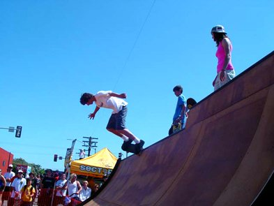 Pacific Beach Block Party - Skate pipe in the street for skaters