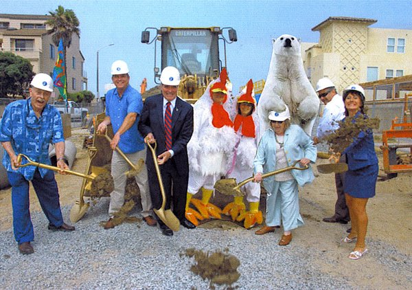 Palm Avenue Street End Project Breaks Ground or Breaks Wind?  Can you tell who farted. Among those not invited to attend were the two business's immediately next to the project; Spirit Realty & Ye Olde Plank Inn! One of the models for the bronze statue that will be placed there when completed is employed by Spirit Realty! Also not
