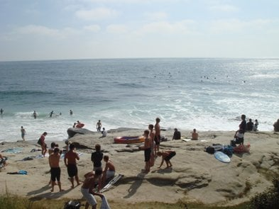 Windansea beach in La Jolla. This is the spot for locals surfing.