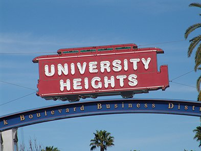 University Heights is a neighborhood of San Diego. Located near Downtown, University Heights is a busy community with clean and large sidewalks and an art, theater, music life.