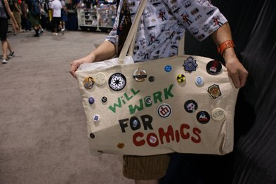 Will work for comics at comicon.