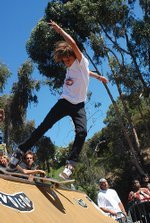 A skater takes to one of the mini ramps at the Sun Diego skate demo.